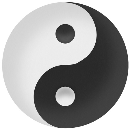 Yin yang symbol of harmony and balance by recycled paper photo