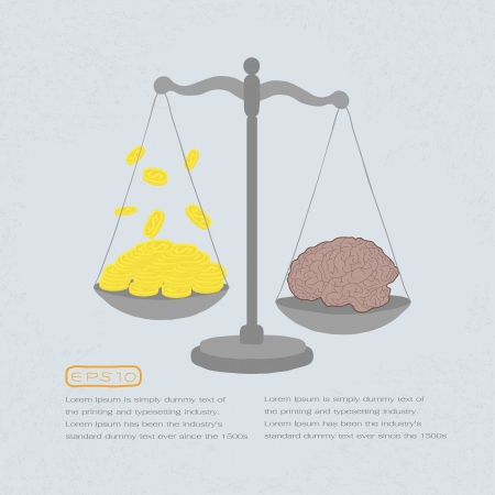 balance scale: knowledge value in gold coins , eps 10 vector format