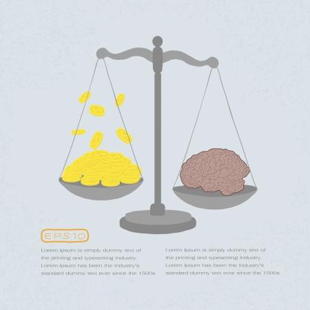 balanza en equilibrio: valor del conocimiento en monedas de oro, eps 10 vector Vectores