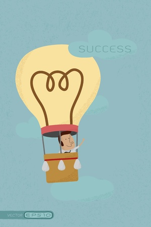 conquering: Businessman success from his own balloon idea , eps10 vector format
