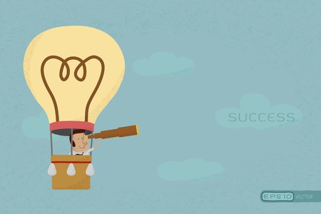 new business: Businessman in balloon search to success , eps10 vector format
