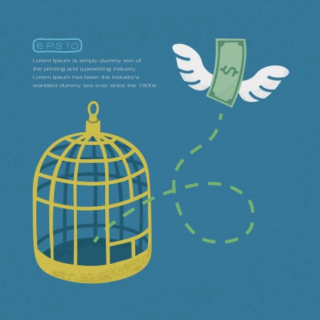 flying money: Money flying out of cage birds , Financial independence , eps10 vector format