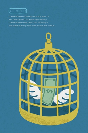 became: Dollar in golden bird cage , eps10 vector format