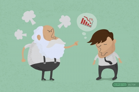 Angry boss with employee  , eps10 vector format