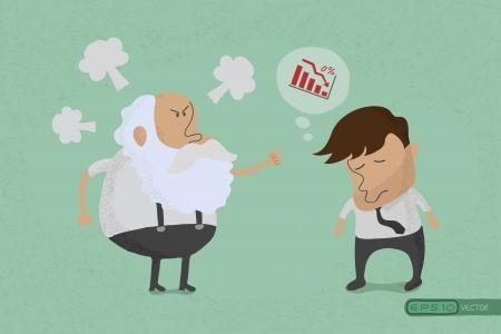 mistakes: Protuberancia enojada con los empleados, eps10 formato vectorial Vectores