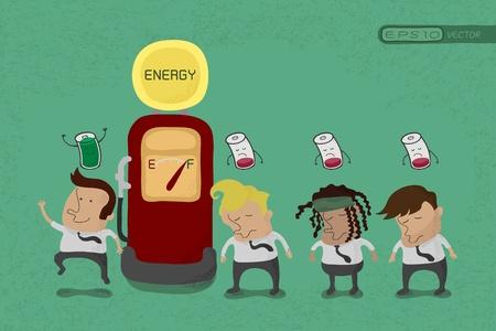 recarga: Empresario recargar la energ�a, eps10 formato vectorial