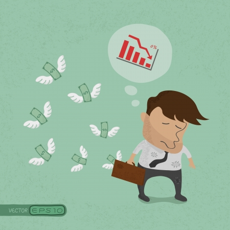 flying money: Businessman fail and money flying , eps10 vector format