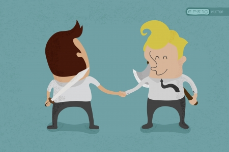 hypocrite: Two business mans shaking hands and hiding weapon behind their backs  , eps10 vector format Illustration