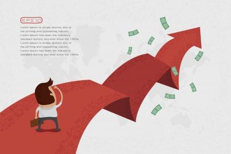 argent: Homme d'affaires marchant dans la rue � fl�che rouge sur le succ�s, format vectoriel eps10
