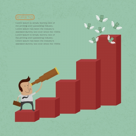 financial advisors: businessman using a telescope on a bar chart , eps10 vector format