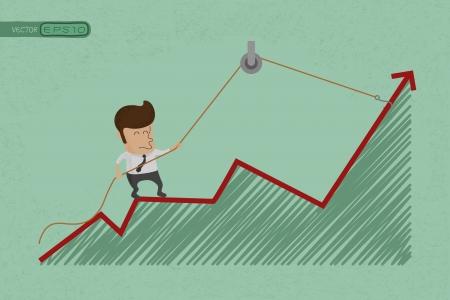 rebound: Business man make a economic rebound growth  , eps10 vector format