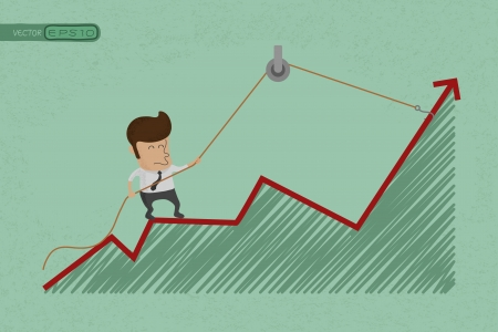 Business man make a economic rebound growth  , eps10 vector format