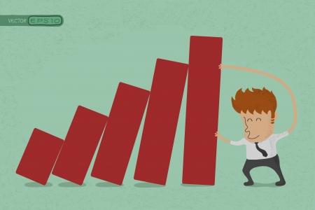 business man pushing bar graph  , eps10 vector format Stock Vector - 19717994