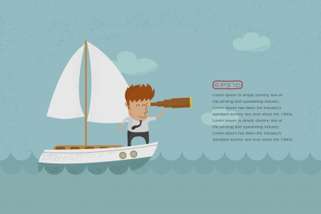 Business man sailing and  looking future , eps10 vector format Vector
