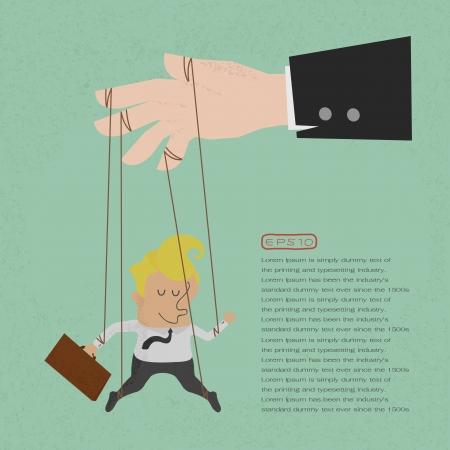 obedecer: Marioneta del hombre de negocios en cuerdas controlado, formato vectorial eps10