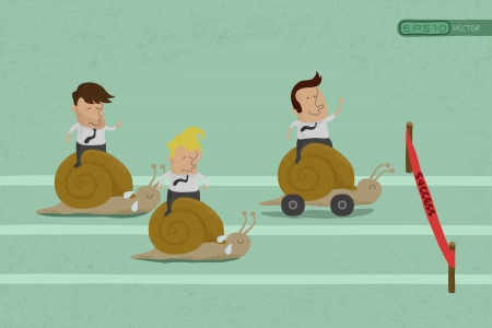 team effort: Business persons reaching the goal in a race , eps10 vector format