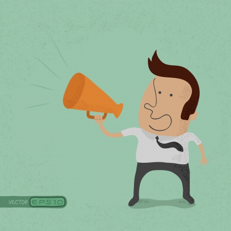 Business man cheer with a megaphone , eps10 vector format Vector