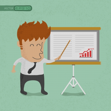 Business man making a presentation in front of a board  , eps10 vector format Vector
