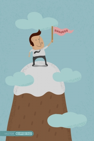Businessman standing on the top of a high mountain  , eps10 vector format