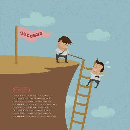 adversaire: L'homme d'affaires est pouss�, format vectoriel eps10 Illustration