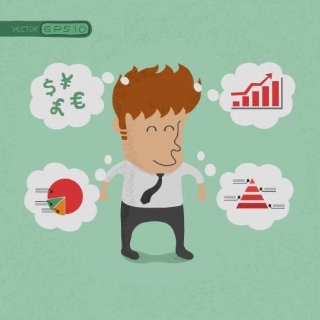 sales executive: Hombre de negocios que piensa en sus planes, eps10 formato vectorial