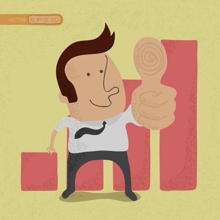 competitions: Hombre de negocios que muestran los pulgares arriba, eps10 formato vectorial Vectores