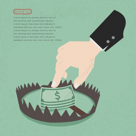 sudden: Money trap with hundred dollars, eps10 vector format Illustration