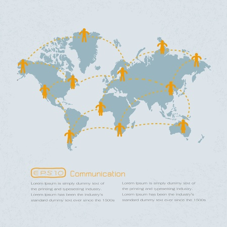 Social media people communication on the world map . eps 10 vector format Vector