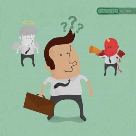 indeciso: Hombre de negocios que tiene que elegir entre el diablo o �ngel, eps10 formato vectorial