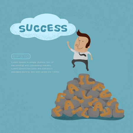 Business man jumping over the Failure go to success , symbolizing the overcoming of an obstacle and achieving your goals  , eps10 vector format Vector