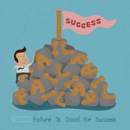 obstacle: Businessman moving over the Failure go to success , symbolizing the overcoming of an obstacle and achieving your goals  , eps10 vector format
