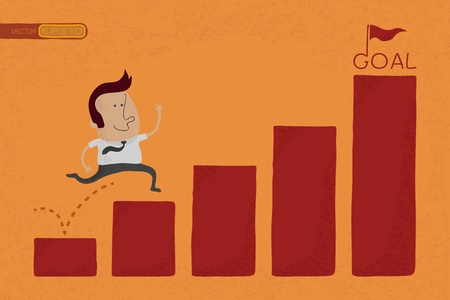 stat: Happy Businessman jump over graph stat to goal , eps10 vector format