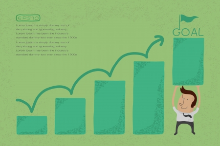 grow money: Businessman with business growing graph , eps10 vector format