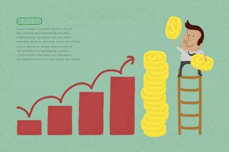 planning diagram: Successo metafora raffigurato con le monete, eps10 formato vettoriale