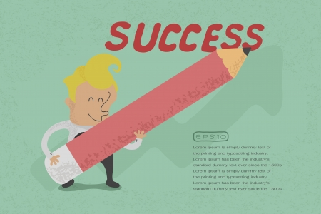 grow money: Businessman with pencil writing success , eps10 vector format
