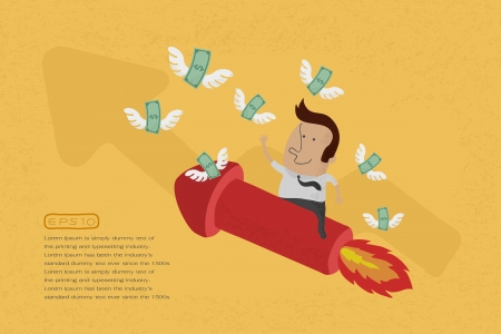 collect: Business man on growing graph collect money , eps10 vector format Illustration