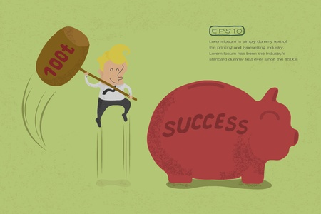 demolishing: Businessman with hammer about to smash piggy bank to success , eps10 vector format Illustration