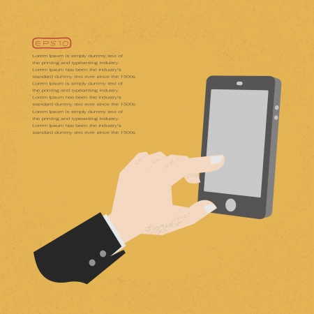 Hands with a tablet touch , eps10 vector format Illustration