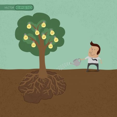 business man vector: Business man watering idea tree  , eps10 vector format