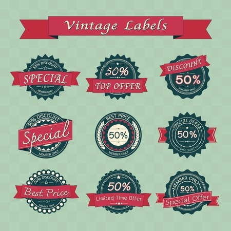 Collection of vintage retro sale labels , eps10 vector format Stock Vector - 19717942