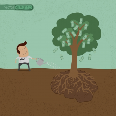 tree symbol: Business man watering money tree  , eps10 vector format Illustration