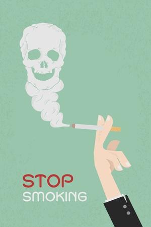 Smoking dangerous cigarette with toxic skull smoke  , eps10 vector format Vector