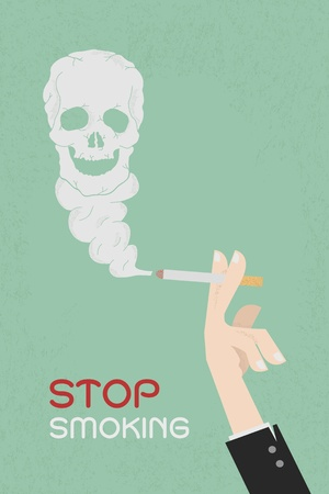 Smoking dangerous cigarette with toxic skull smoke  , eps10 vector format