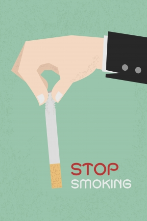 Stop smoking, human hands breaking the cigarette  , eps10 vector format Illustration