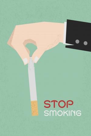 Stop smoking, human hands breaking the cigarette , eps10 vector format Vector Illustration