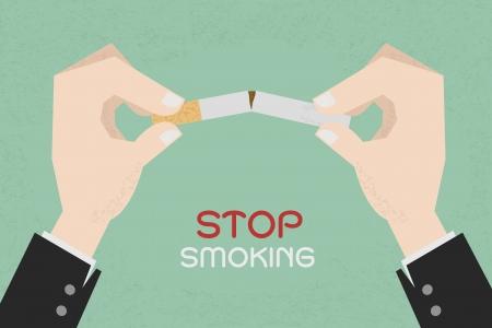 fumando: Dejar de fumar, manos humanas que rompen el cigarrillo, eps10 formato vectorial