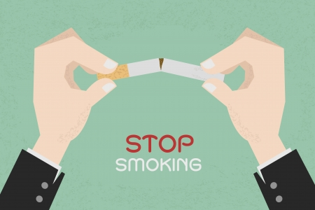 Stop smoking, human hands breaking the cigarette , eps10 vector format