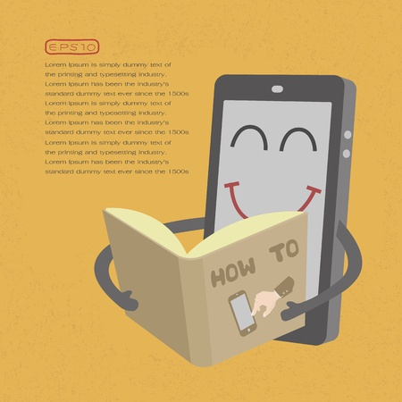 Smartphone read book  , eps10 vector format Stock Vector - 19718009