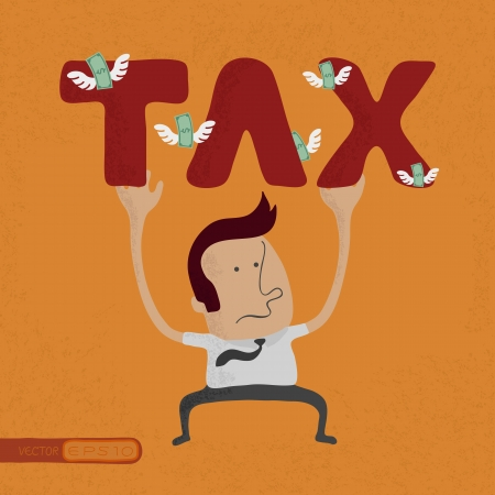 fetter: business man pinned down by heavy tax word  , eps10 vector format Illustration