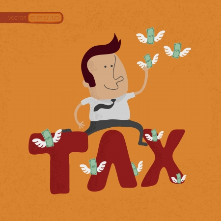 Business man jumping over the tax word , eps10 vector format